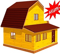 Дом из профилированного бруса с верандой 6х6м - Д8